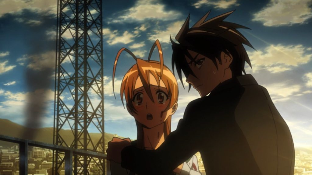 Highschool of the Dead Episode 1 Takashi Pulls Rei away from Hisashi