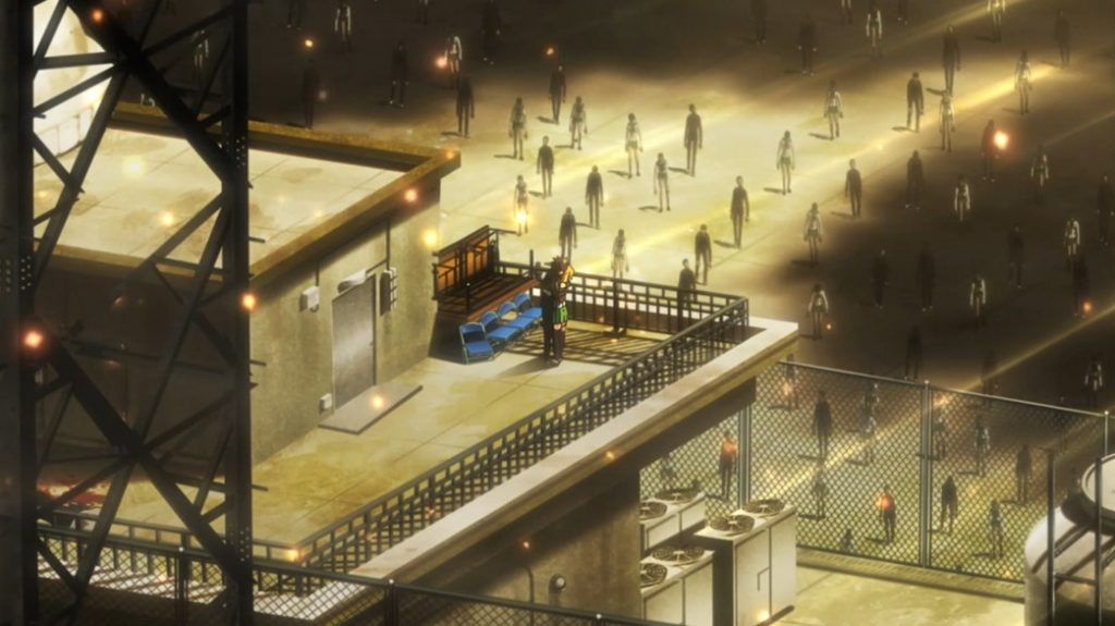 Highschool of the Dead Episode 1 Takashi and Rei Surrounded by Zombies