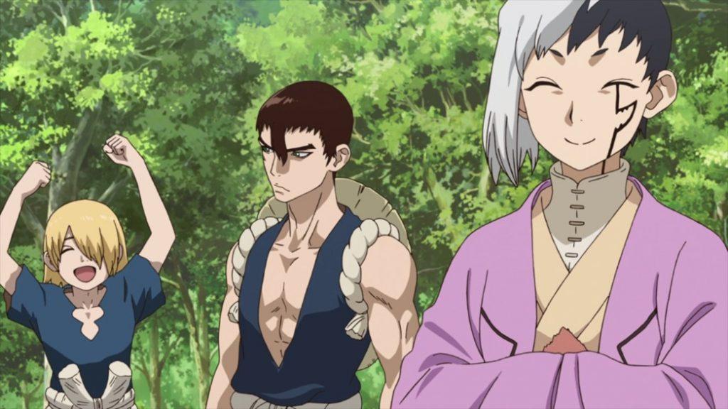 Dr Stone Episode 15 Ginro Kinro and Gen Celebrates