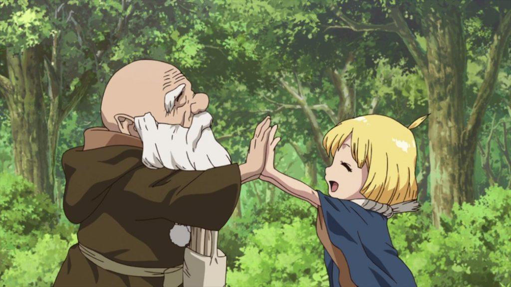 Dr Stone Episode 15 Kaseki and Suika Celebrate
