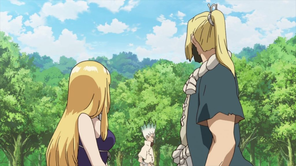 Dr Stone Episode 15 Ruri and Chief looking at Senku