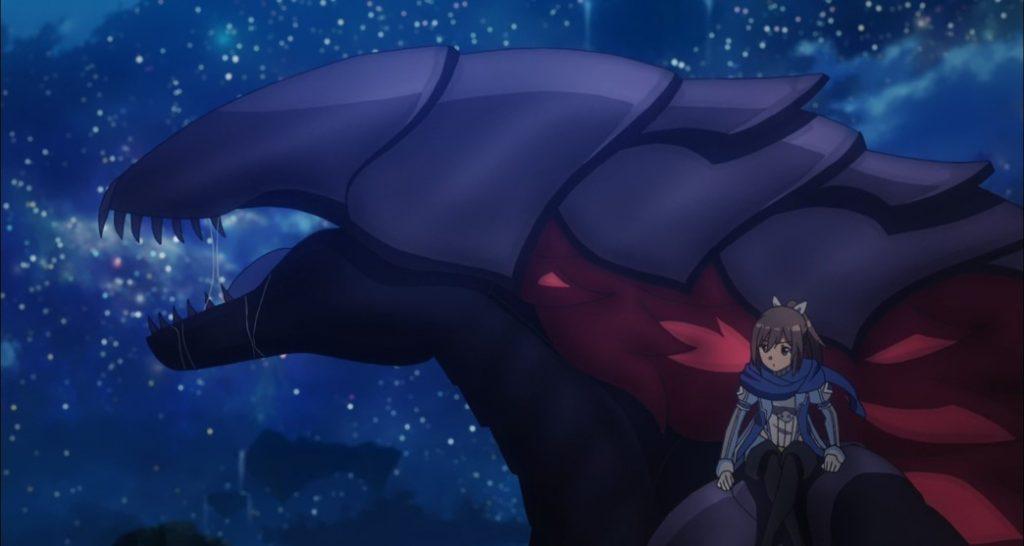 BOFURI Episode 12 Sally riding Maple in Atrocity Form