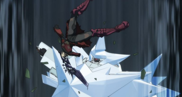 Infinite Dendrogram Episode 13 Ray holding Nemesis with his mouth Attack Hugo