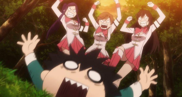 Plunderer Episode 14 The Girls stomping on Rihito