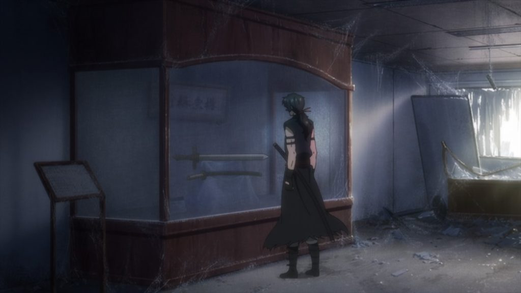 Gibiate Episode 4 Sensui Kanzaki finding his weapons in a display case