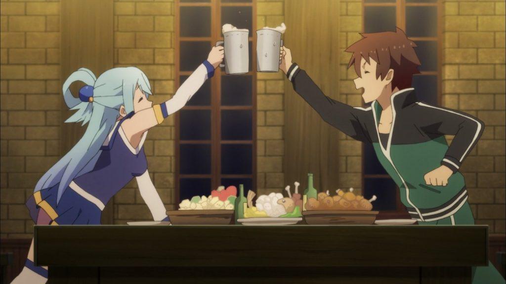 KonoSuba Episode 1 Aqua and Kazuma
