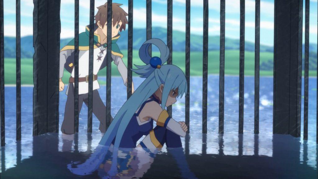 KonoSuba Episode 5 Kazuma trying to convince Aqua to come out of the cage