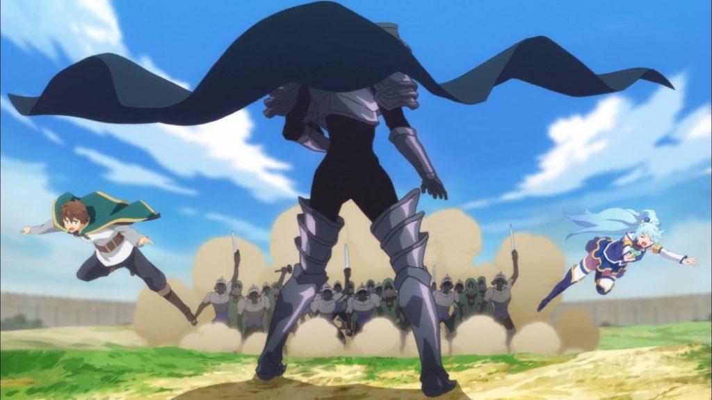 KonoSuba Episode 6 Undead Knights chase Kazuma and Aqua towards the Dullahan