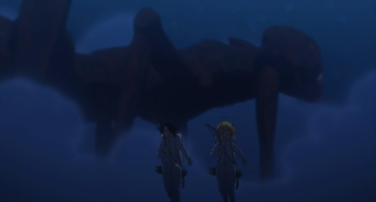 The Promised Neverland Season Two Episode 4 Ray and Emma running from demon