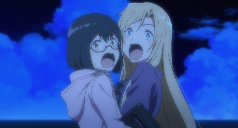Otherside Picnic Episode 7 Sorao Kamikoshi and Toriko Nishina scared
