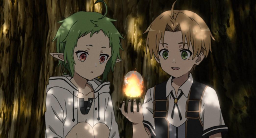 Mushoku Tensei Jobless Reincarnation Episode 3 Rudeus shows Sylph how to combine magic